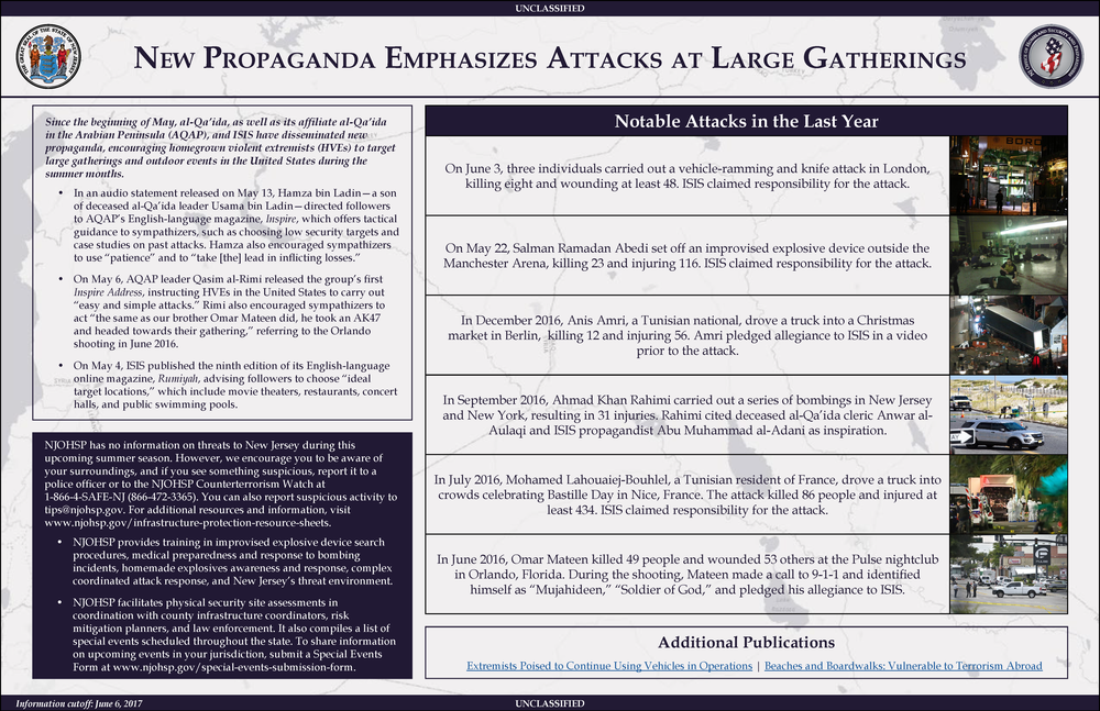 New Propaganda Emphasizes Attacks at Large Gatherings
