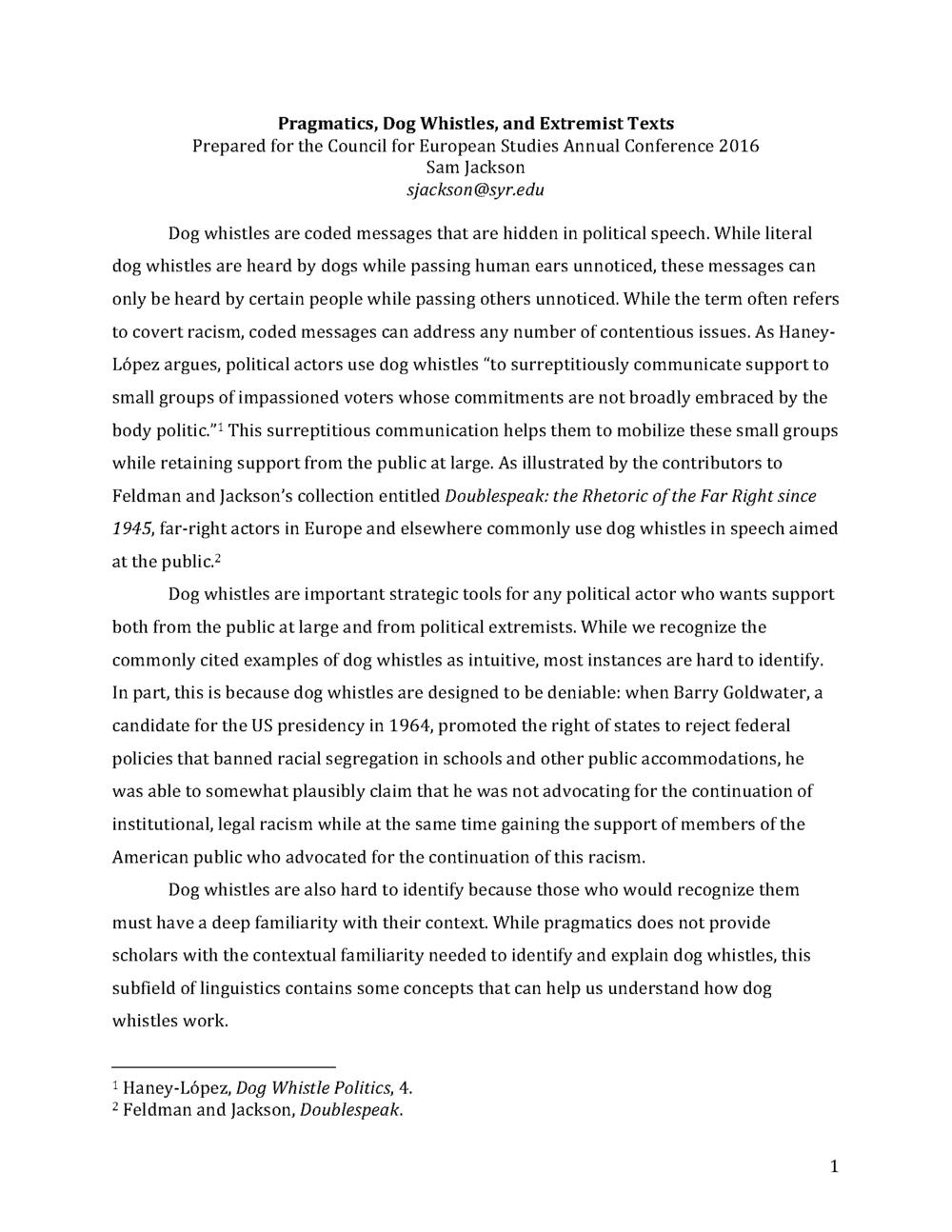 Pragmatics, Dog Whistles, and Extremist Texts