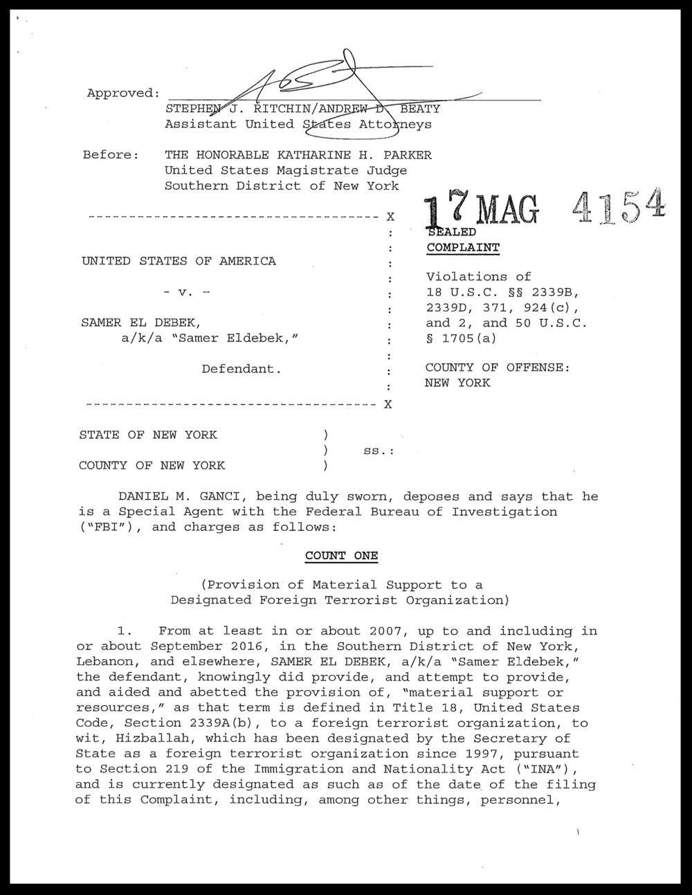 Samer el Debek Criminal Complaint