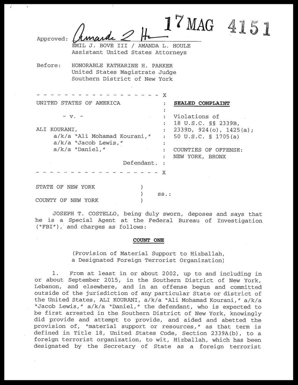 Mohamad Ali Kourani Criminal Complaint
