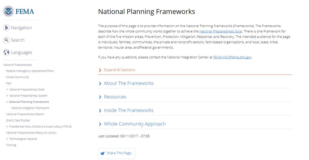 National Planning Frameworks