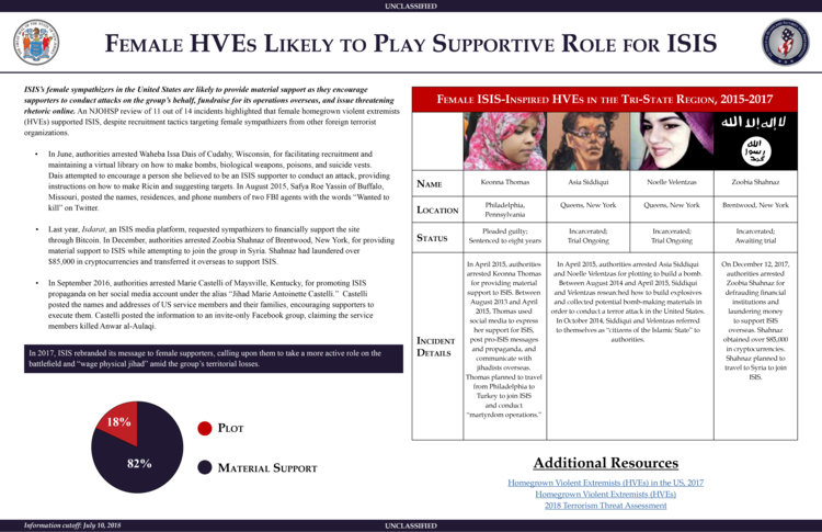 Female HVEs Likely To Play Supportive Role For ISIS