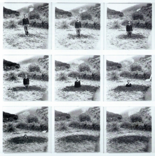 Keith Arnatt, 1969, Self Burial (Television Interference Project), 9 photographs, gelatin silver print on paper on board.