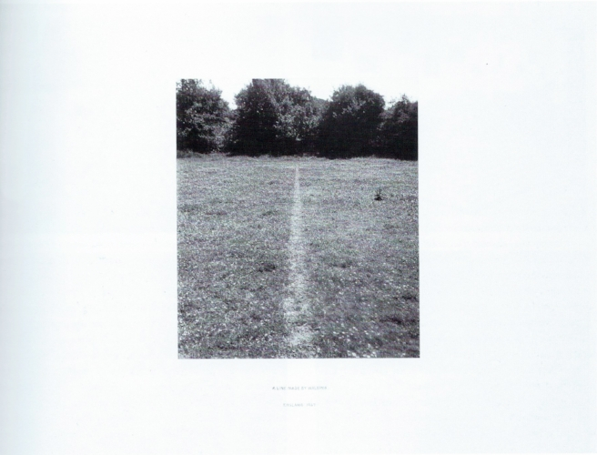Richard Long, 1967,  A line made by walking , Photograph, gelatin silver print silver print on paper and graphite on board.