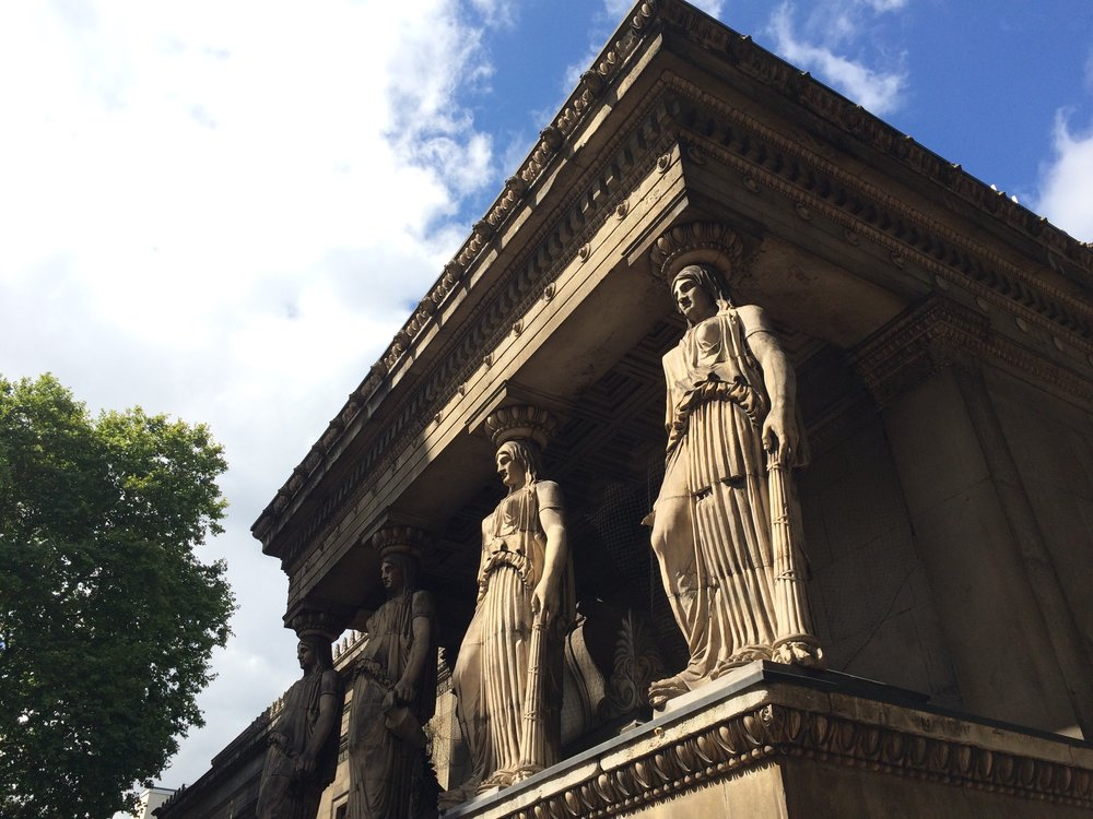 Caryatids erected on top of the Crypt Gallery, London