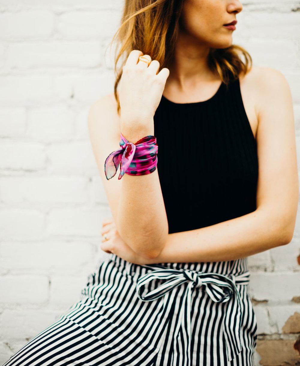 buy fluo pink scarf wristband online paris taipei tokyo. スカーフコーデ for selfridges isetan hypebeast.