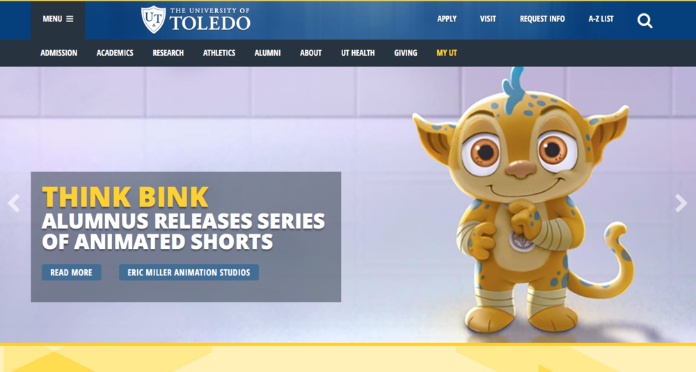 University of Toledo's homepage on May 25th, 2016