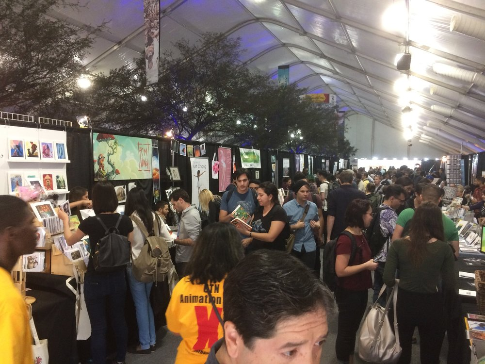 Photo from only one section of the exhibit floor which completely filled a tent.