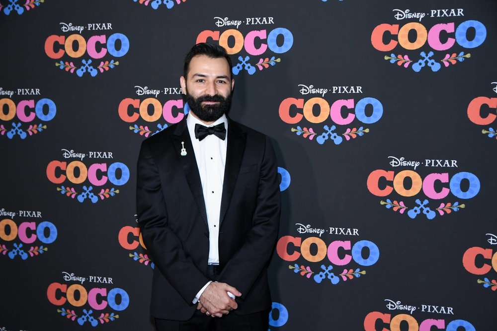Adrian Molina, co-director, attends  Coco 's premiere in Mexico City. Courtesy of Disney•Pixar