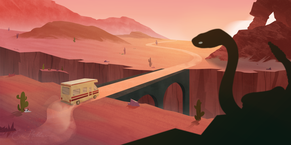 Desert Trip - one of the first illustrations Evan created for Eric Miller Animation Studios