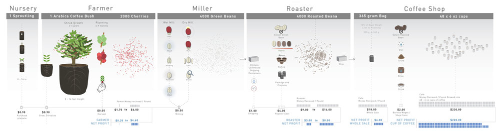 Expanding on the previous graphic we developed a more complex representation of the interworking system of growing and distributing a bag coffee. This graphic encases every aspect of growing, processing and brewing coffee in the modern world.