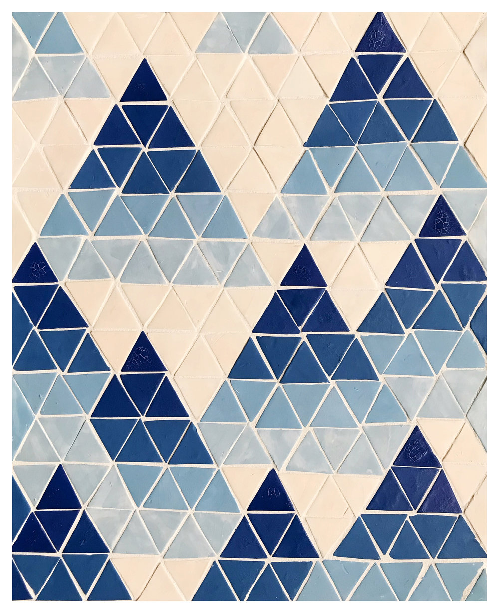 "- Mountains, 2018, 12 1/2"" x 15 1/2"", Glazed Porcelain and grout on board"