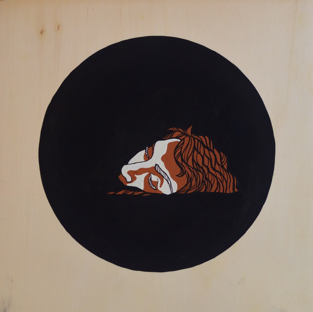 Etruscan , 30 x 30 cm, gouache on wood, 2013