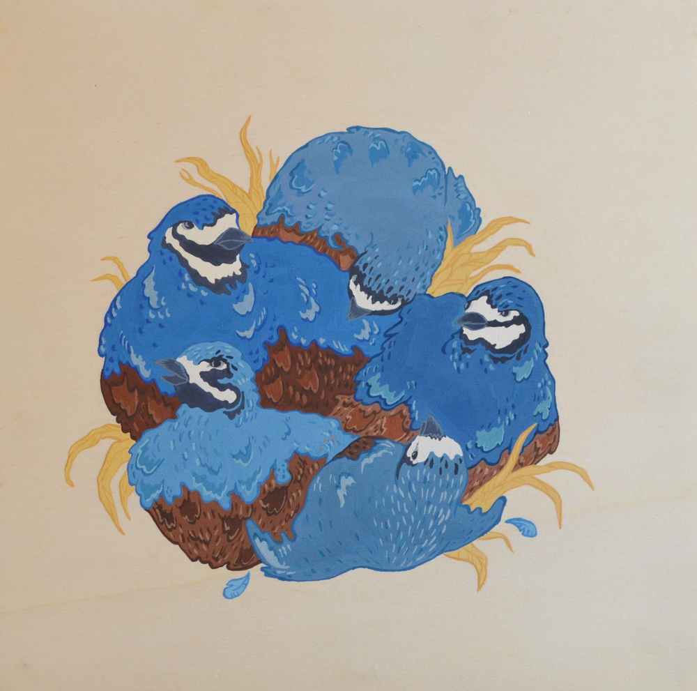 Quails,  30 x 30 cm, gouache on wood