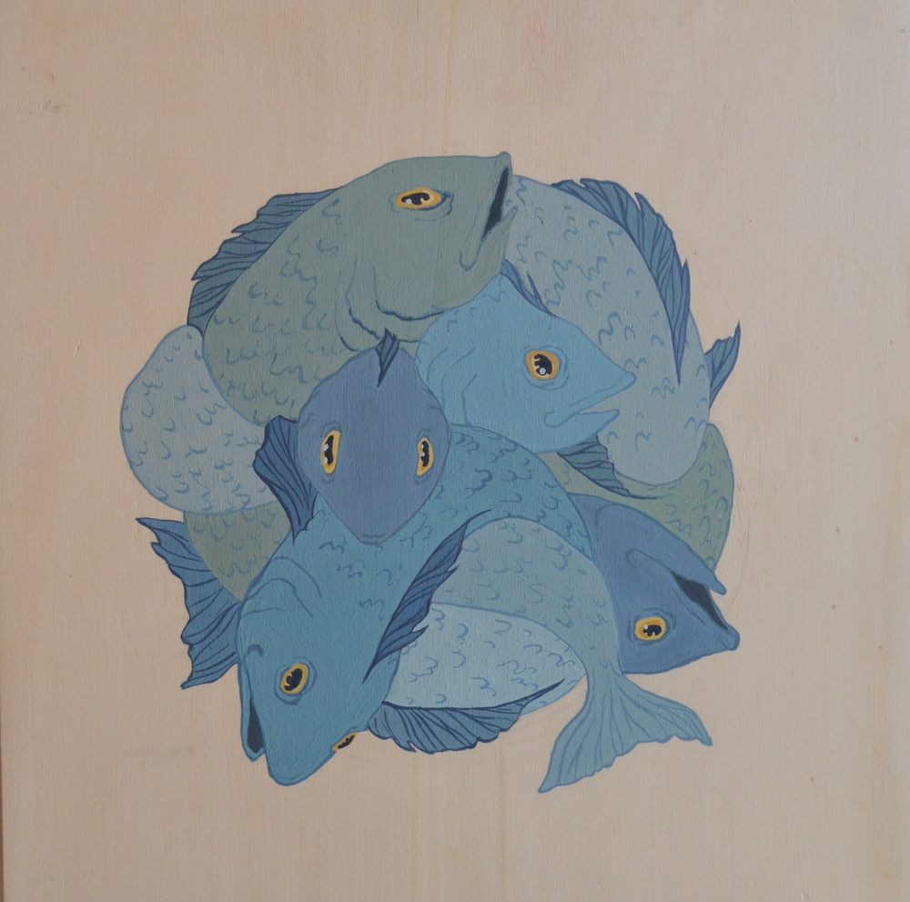 Fish , 30 x 30 cm, gouache on wood