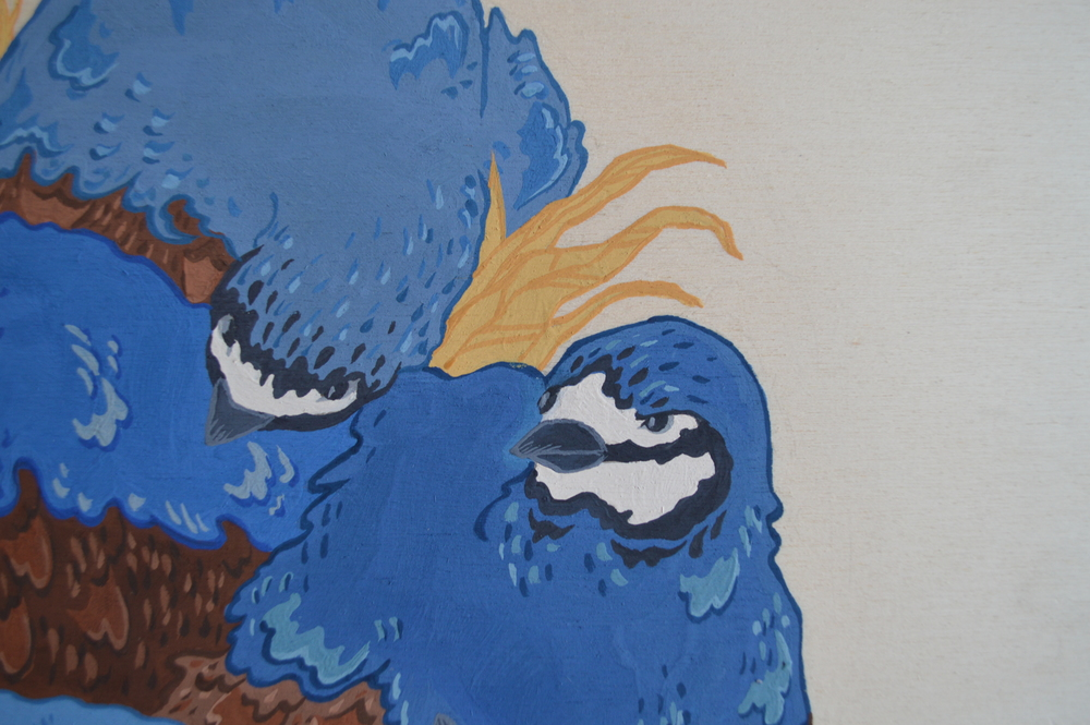Quails  (detail), 30 x 30 cm, gouache on wood, 2013