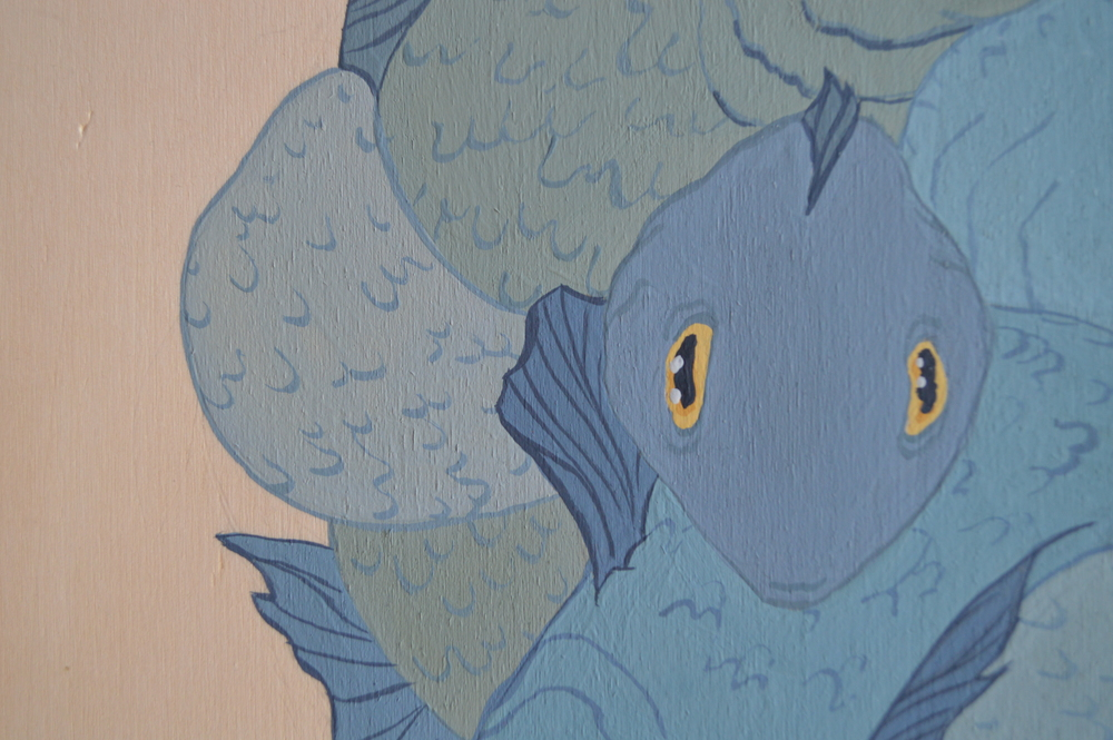 Fish  (detail), 30 x 30 cm, gouache on wood, 2013