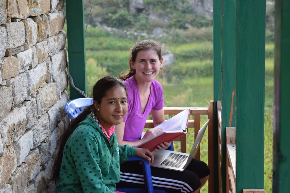 Working on some Nepali with the Daughter of Oda's cook - Kalashah Singh