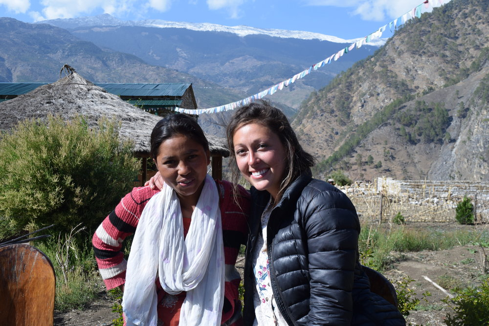 Taylor and Rajenpura after one of Rajenpura's menstrual health teaching sessions.