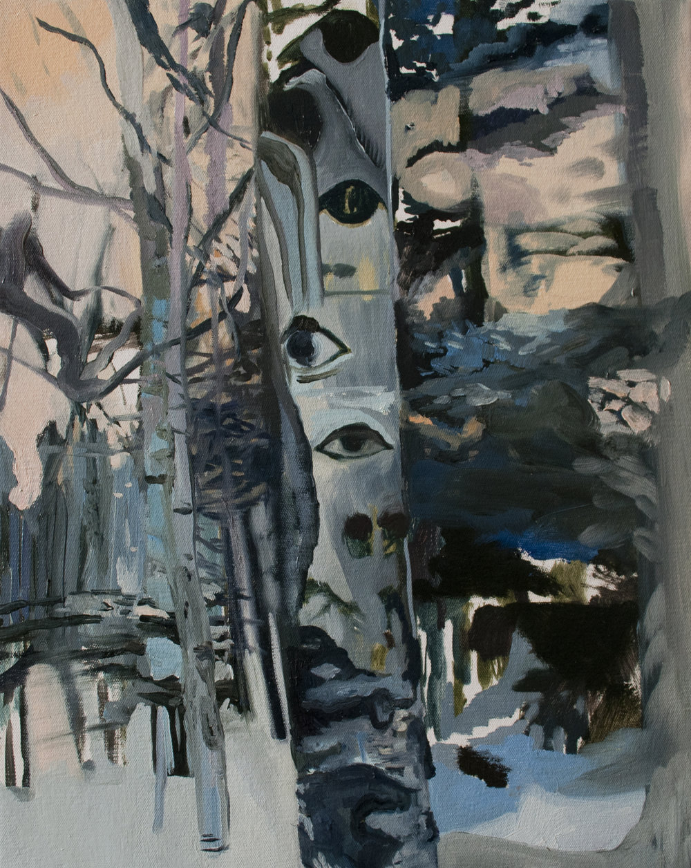 Trees have eyes (birch), 2014, oil on canvas, 20 x 24 inches.