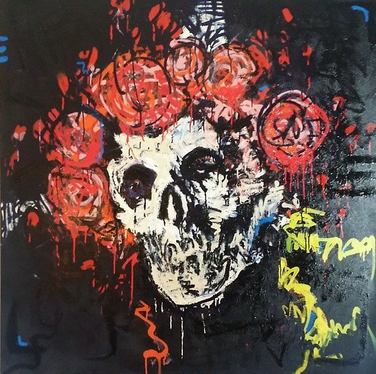 Skull and Roses Painting 48x48 by Matt Pecson