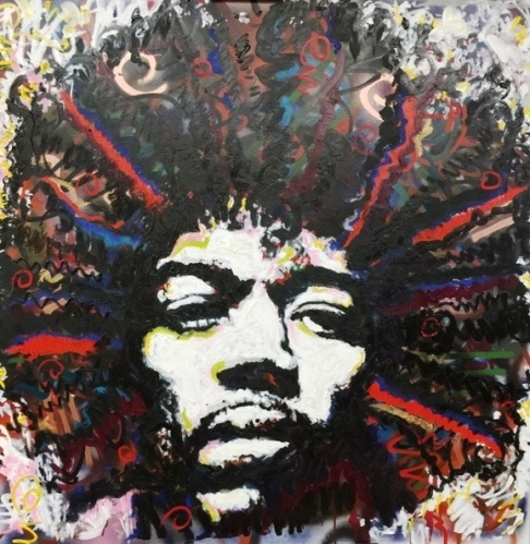 "Jimi Hendrix ""99 and 1/2 days"", 48x48, Mixed on Canvas"