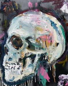 """Skull"", 18x24, Mixed on Canvas"