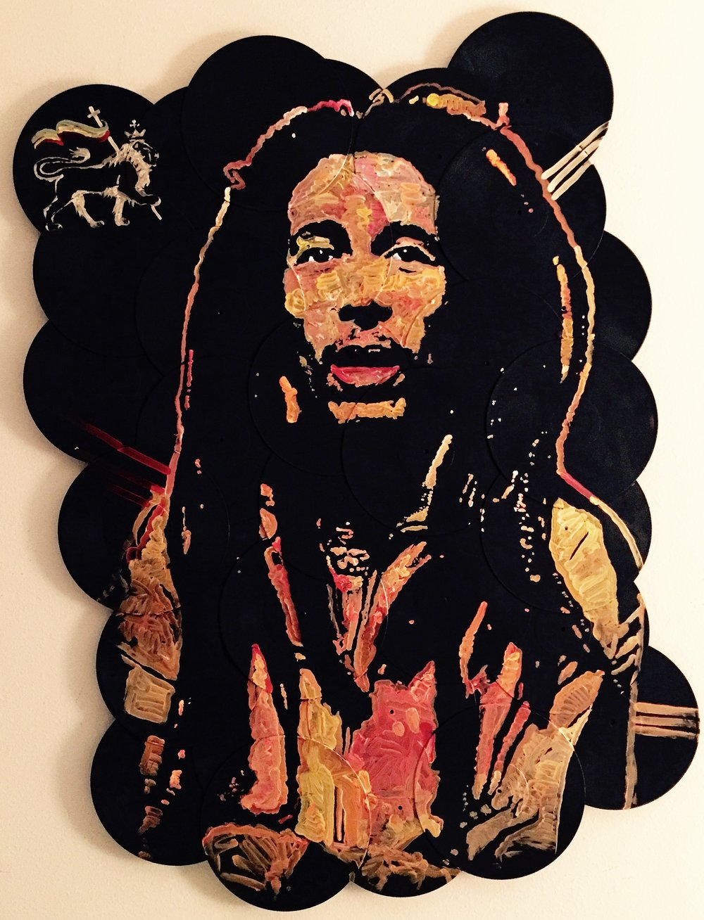 """Iron Lion Zion"", Bob Marley, 48x60, Acrylic on Vinyl Records"