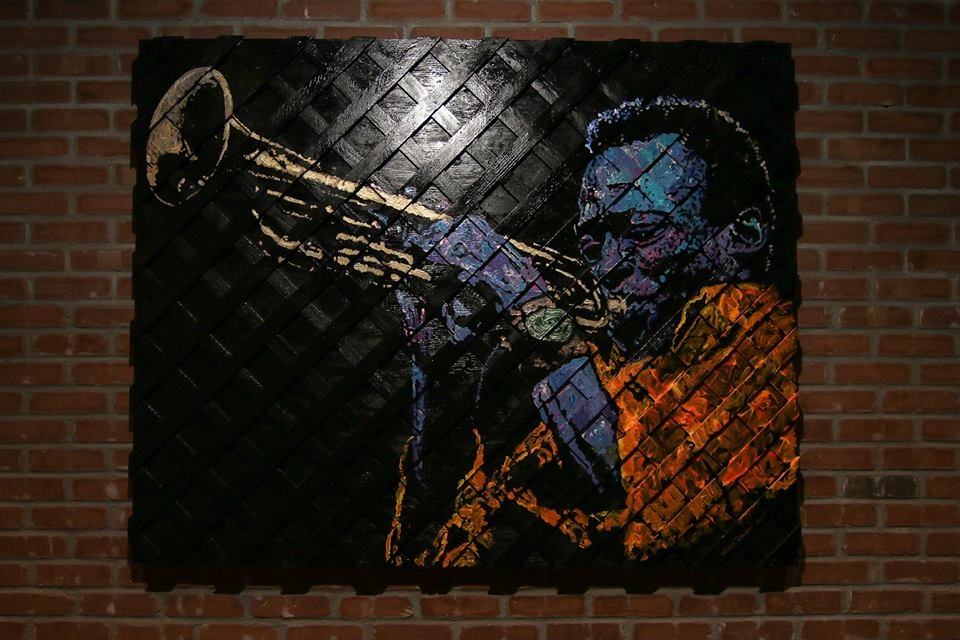 "Miles Davis, 60""x48"", Acrylic on Reclaimed Wood and Wood Lattuce"