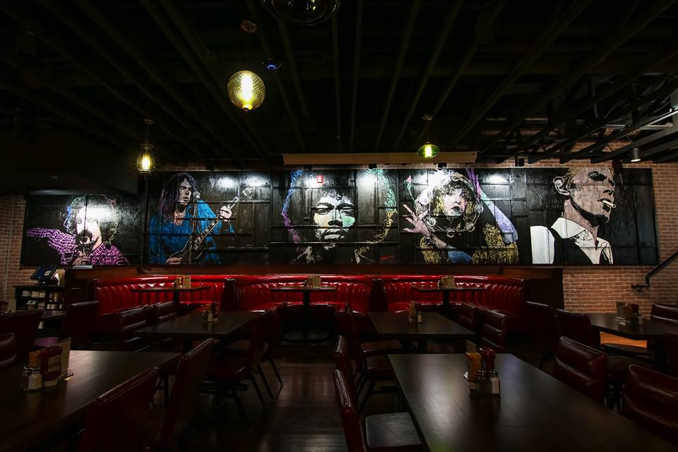 Frank Zappa / Neil Young / Jimi Hendrix / Stevie Nicks / David Bowie, 40 ft x 6 ft, Acrylic on Wood Plywood