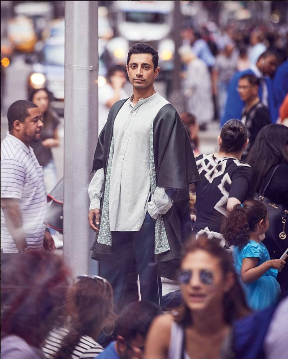 Riz Ahmed wearing Abaya 01 Gunmetal Wool - Featured in British GQ September issue