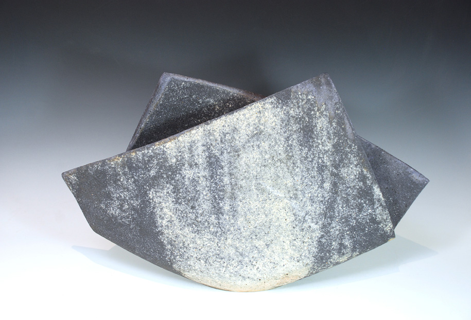 "Mihara Ken, (Japan, born 1958) Unglazed multi-fired stoneware. 12"" X 16"""