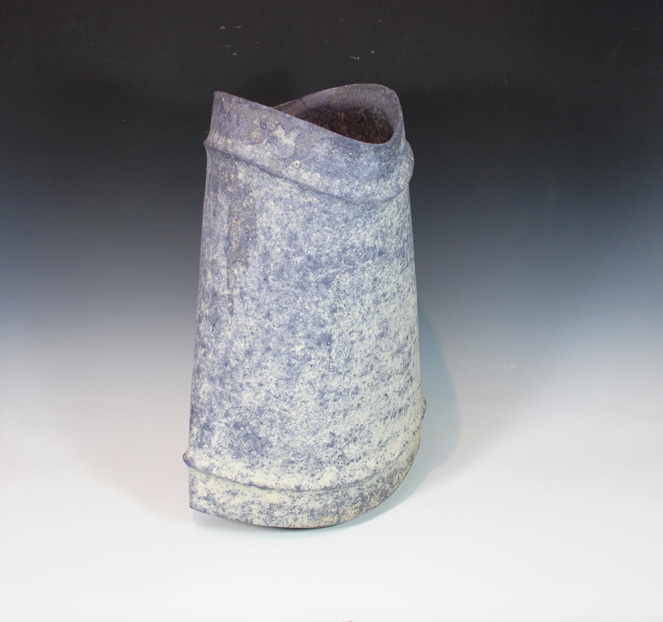 "Mihara Ken, (Japan, born 1958) Unglazed multi-fired stoneware vase. 16""tall"