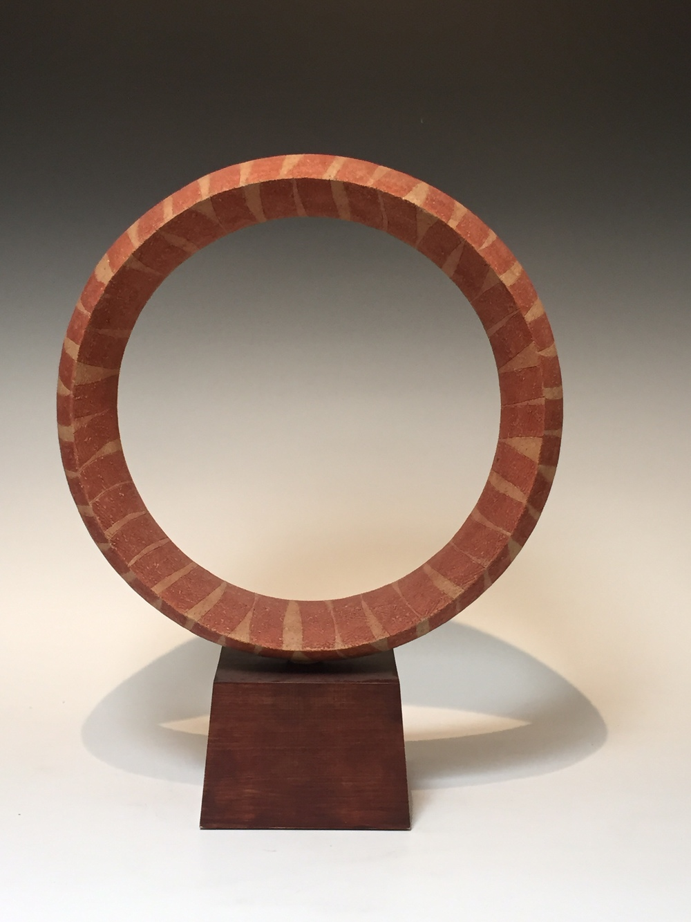 "Kako Katsumi, (Japan, born 1965). Circle Sculpture. 15.5"" tall X 15.5"" wide X 4.5"" wide"