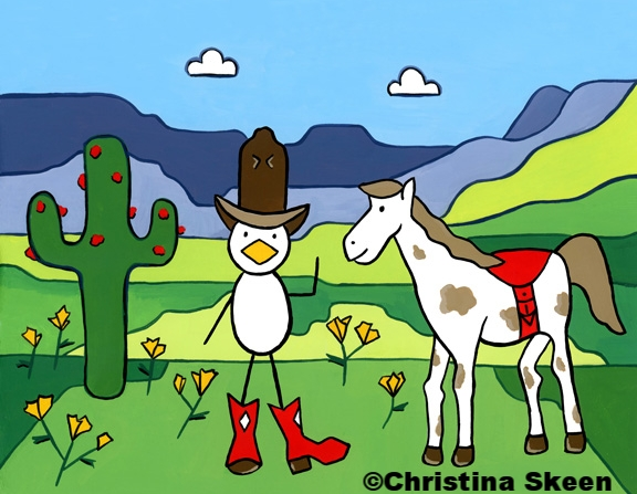 """Clickety Clack home on the range. """"Howdy Y'all!"""""""