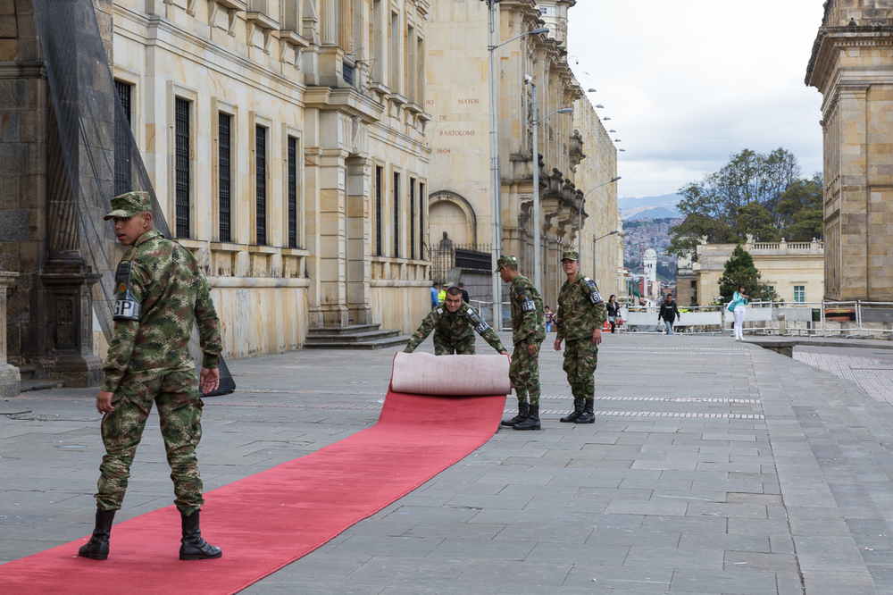 Red Carpet Rollout in front of the Archbishropric Cathedral of Bogota