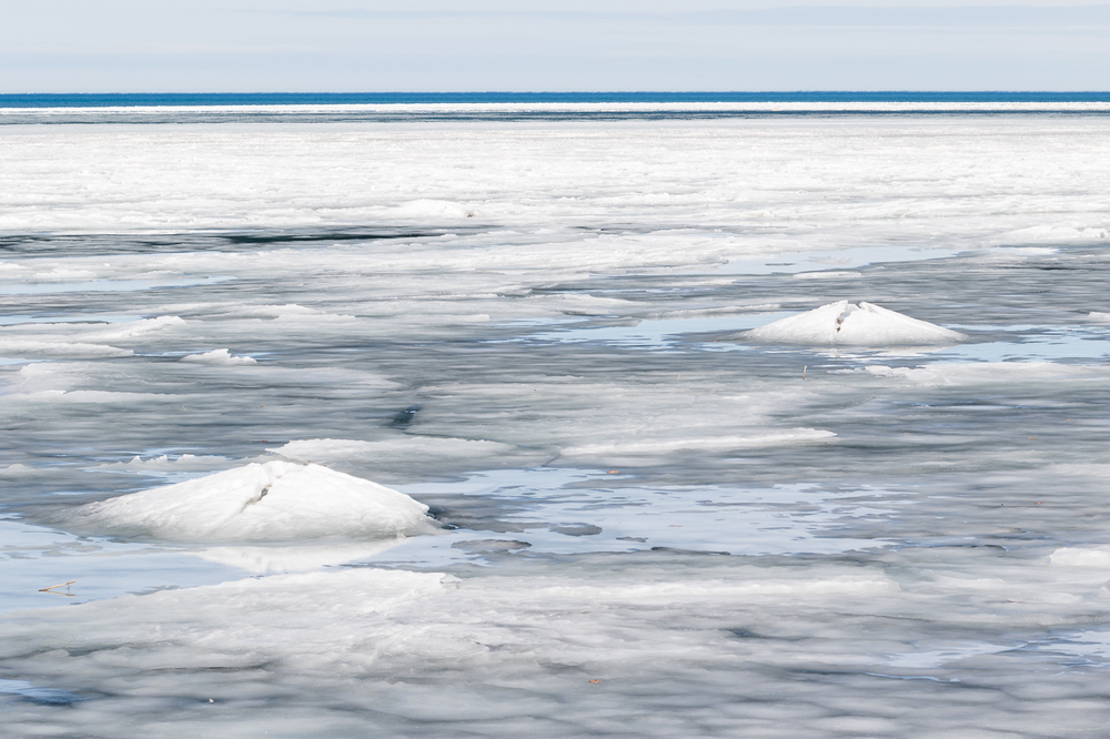 Ice and Snow Covered Kettles on Lake Huron