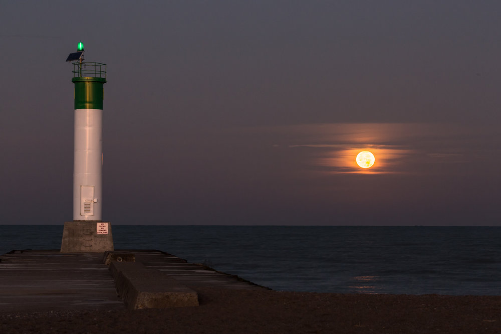 Supermoon Setting Over Grand Bend