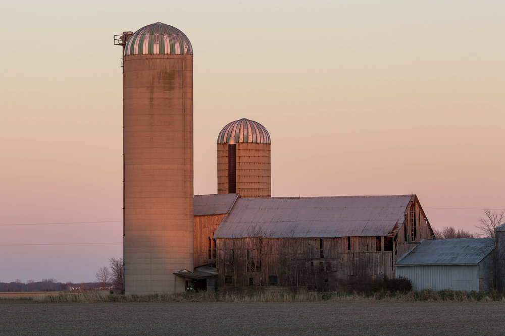 Silos and Barn at Twilight, Lambton County