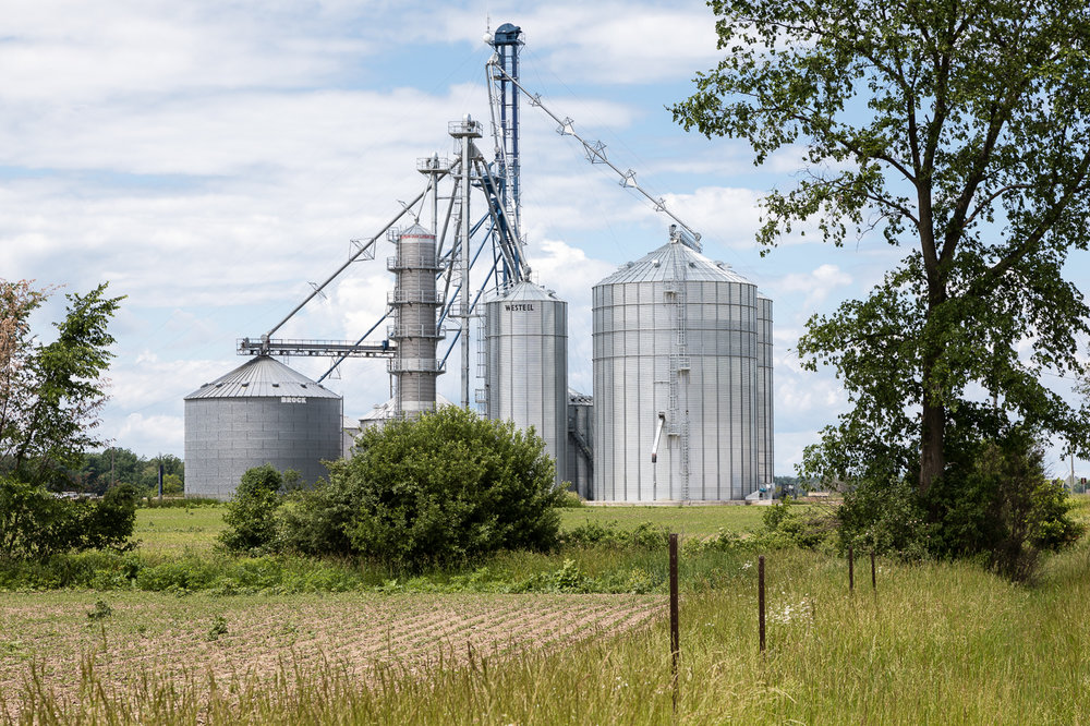 Modern Storage Silos in Farm Country