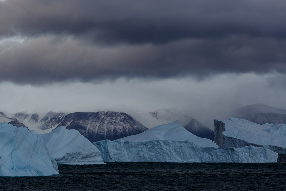 Icebergs, Mountains and Cloudy Skies