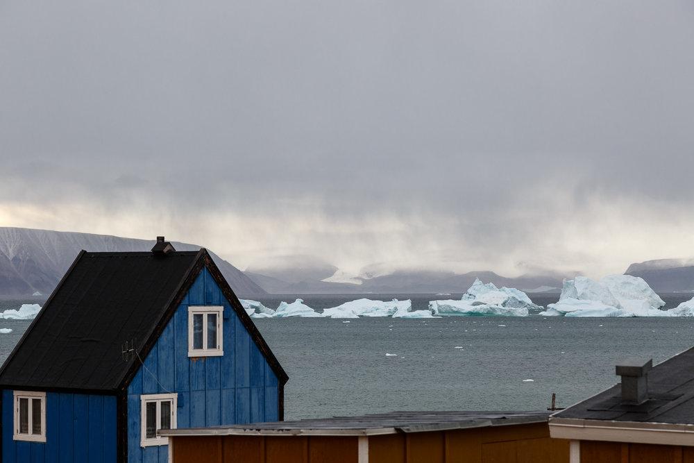 Blue House with Icebergs, Qaanaaq