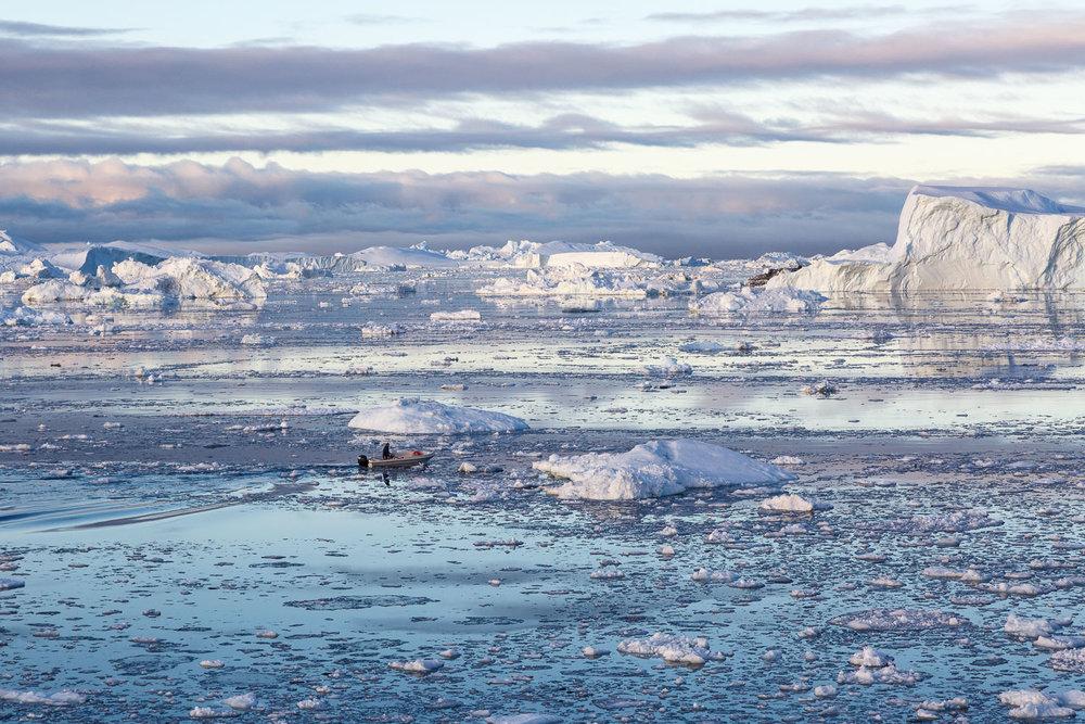 Boat Among the Icebergs, Ilullisat, Greenland