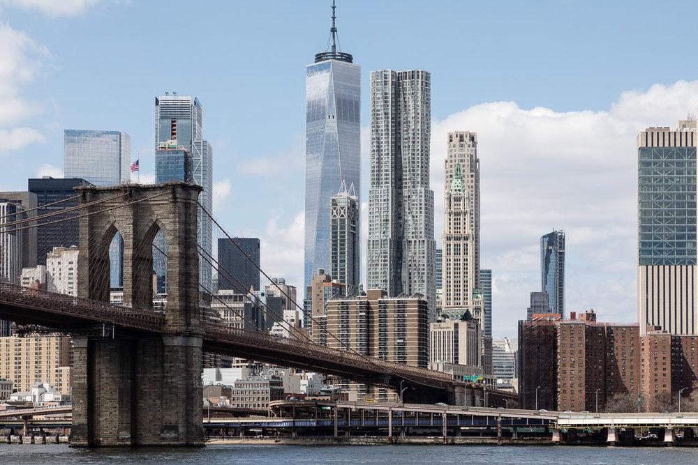 Manhattan Buildings and the Brooklyn Bridge