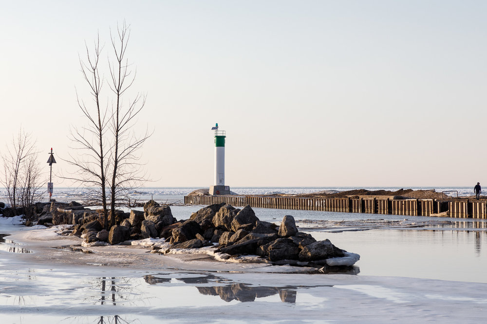 Ice along the river in Grand Bend