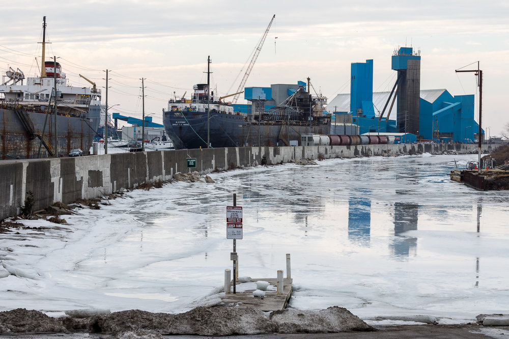 Great Lakes freighters in dock for winter maintenance in Goderich