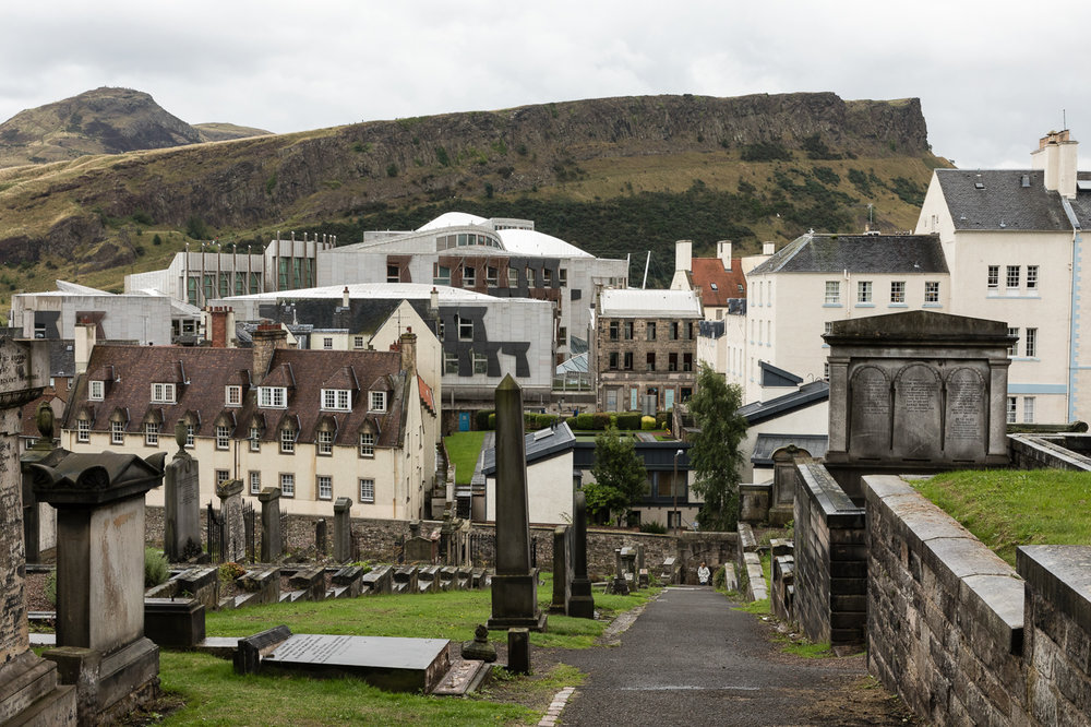 The Scottish Parliament with Arthur's Seat Rising Behind