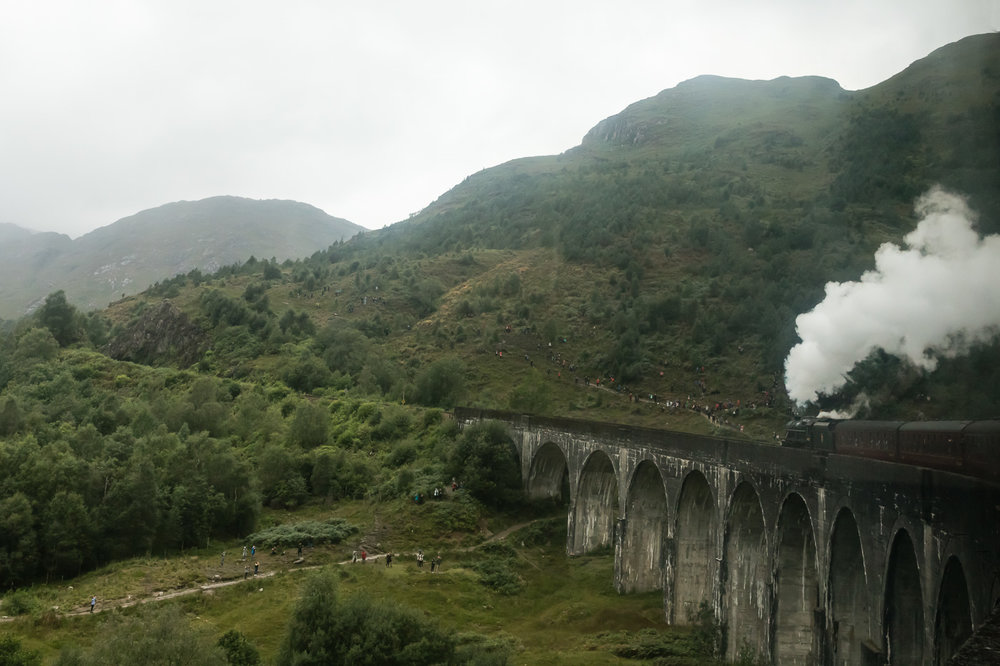 Jacobite Train travelling over the Glenfinnan Viaduct