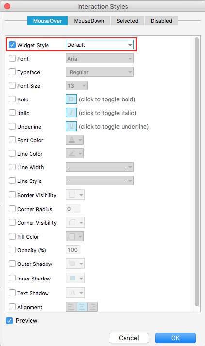Figure 5: Interaction Styles editor showing where to apply a Widget Style.