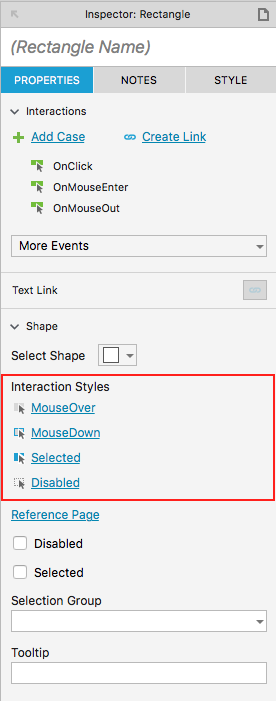 Figure 6: The Axure 8 interface showing Interaction Styles in the Inspector pane.